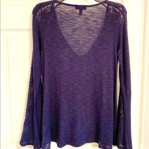 Jessica Simpson Navy Long Lace Bell Sleeve Shirt